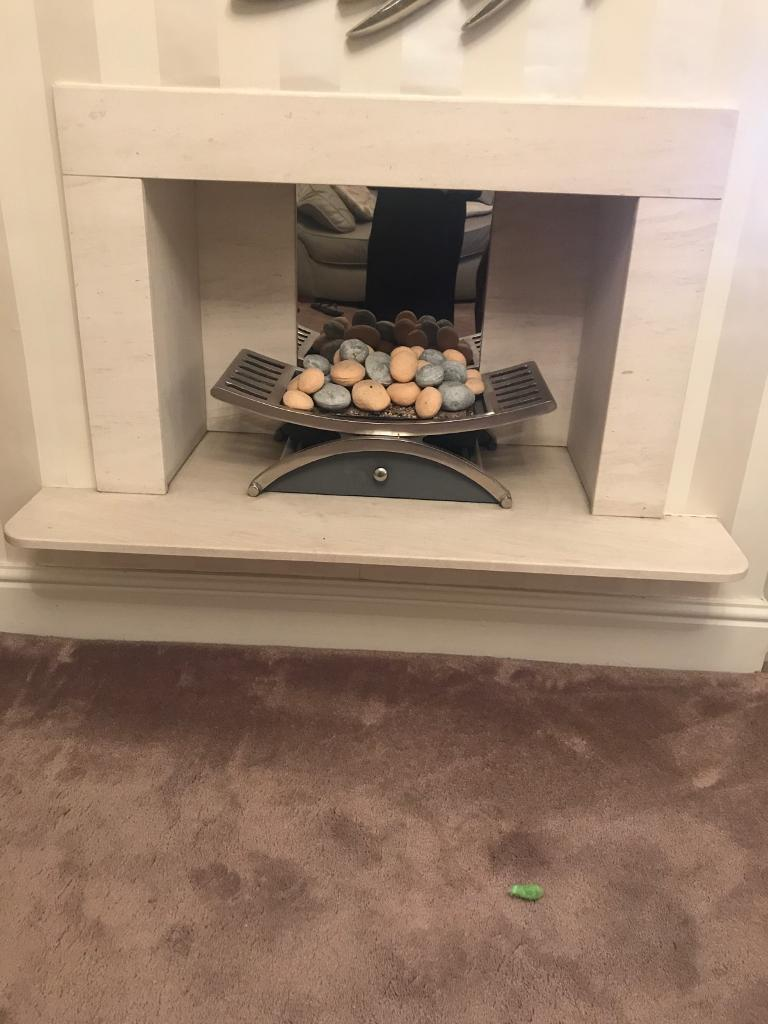 Gas fire basket with surround