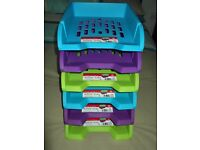 six tier plastic letter tray rack