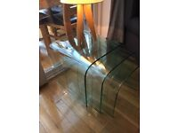 Glass consol table/unit & glass nest tables