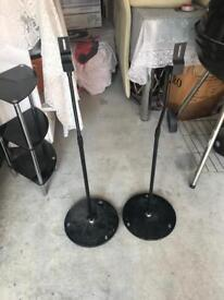 Glass stand shelf and 2 x speaker stands