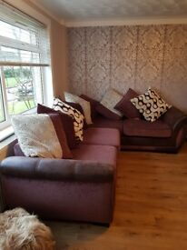 Large corner sofa, cuddle chair and footstool