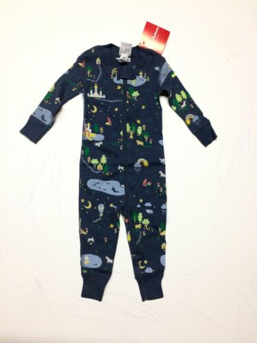 Hanna Andersson baby boy coverall sleepsuit  nb  6 - 12 months navy magical