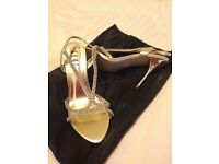gold and crystal high heel ladies bridesmaid cruise dance strappy shoes