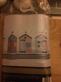 NEW/packaged Beach Huts Shower Curtain & clear shower curtain rings