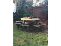 FREE large solid pub round garden table/stools
