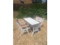 Cast Iron And Hardwood Garden Table And Chairs
