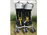 MacLaren Twin Techno Double Buggy / Pushchair in black and yellow with all accessories