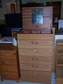 Teak vanity chest of drawers at Cambridge Re-Use (cambridge reuse)