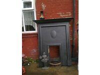 Victorian cast iron fire place, Original black