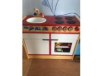 Solid lovely wooden play kitchen