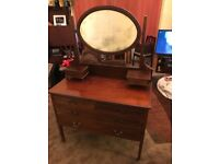 Antique Edwardian inlaid dresser with mirror chest of drawers