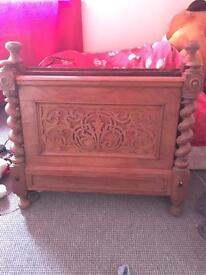 Genuine oak antique slightly bigger single bed