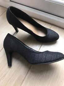 Black fabric quilted heeled court shoes. Like new, never worn.