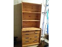 Pine shelf unit/chest of drawers