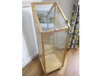 IKEA SKOGEN Lockable Glass Mirror Wood Display Case Cabinet on Castors
