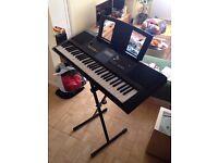 Yamaha PSRE333 digial piano keyboard and stand