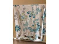 Next floral teal aqua curtains ring top 135cm x 229cm