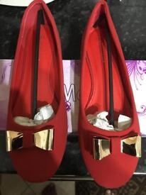 Ladies Red velvet finish Golden Bow shoe