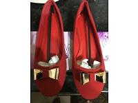 Ladies Red velvet finish Golden Bow shoe
