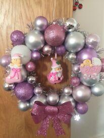 Hand made Christmas bauble wreaths