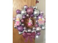 Hand made Christmas bauble wreaths