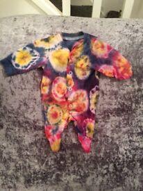 Hand Dyed tiny prem babygrow