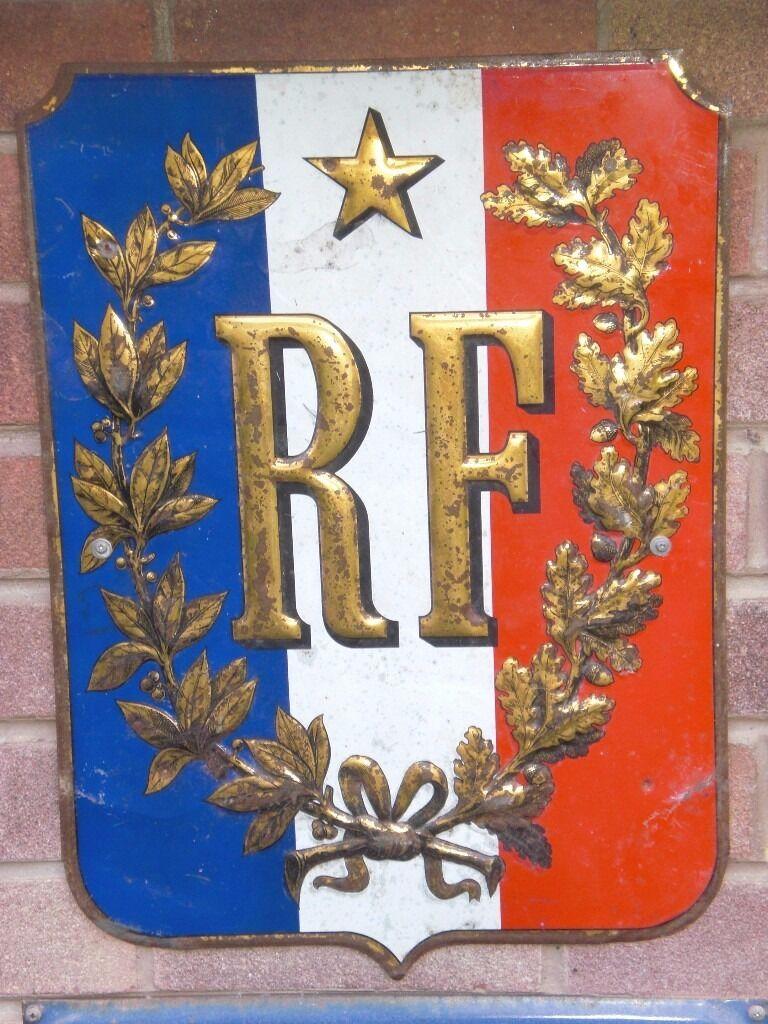 Original Vintage Rf Metal French Sign Republic Of France 36cm W
