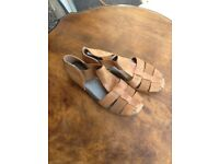 new and unworn ladies size4 tan sandals leather and leather lined