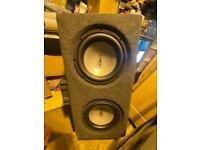 Kenwood KAC 5203 amplifier 2Mutant subs in box.
