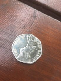 Fifty pence coin Peter rabbit