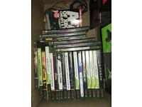 Original Xbox with controllers, games and box