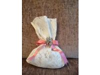 Vintage Ivory Lace Wedding Favour Bags containing hand made soap