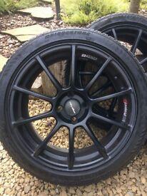 "Mini Cooper 17"" satin black wheels & part worn Bridgestone tyres."