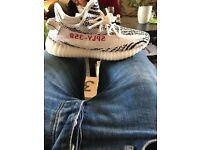 Yeezy 350 zebra in hand with receipt