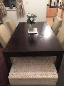 Dark solid dining table with chairs x4