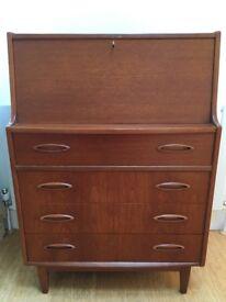 Vintage Jentique teak lockable bureau