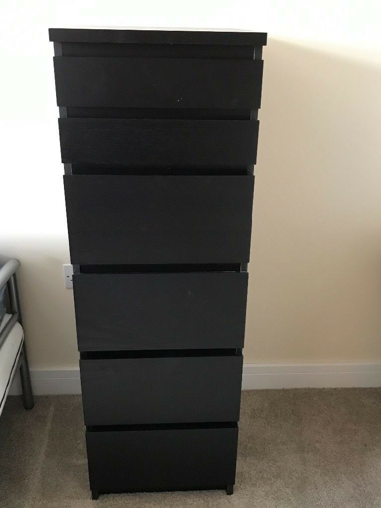 Two Ikea Malm Black Dressers Wide And Tall