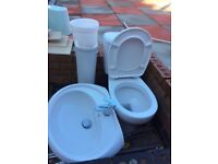 Bath toilet and sink set