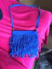 Blue suede tassel bag