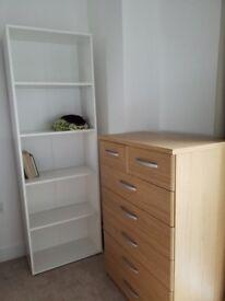 Wide, Tall White Bookcase/Bookshelf - 5 Shelves