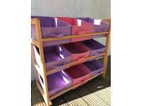 Children's toy storage, girls shelves.