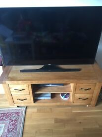 Solid Oak TV stand and media centre