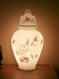 birds and blossom opaque glass lamp