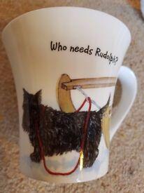 """New Hudson & Middleton Fine Bone China Dog Mug """"Who needs Rudolph"""" Xmas Gift?"""