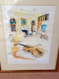A set of 3 Framed Musical Themed Pictures