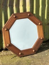 Medium oak vintage octagonal mirror