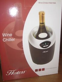 Hostess Single Wine Chiller, Black and Silver