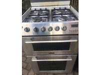 gas cooker CANNON INOX LOOK DOUBLE OVEN 60 CM...FREE DELIVERY
