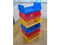 Kids Colourful Plastic Stacking Trays Boxes Storage