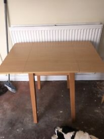 Small extending kitchen table and two chairs. Moved house so not needed. Just need a clean